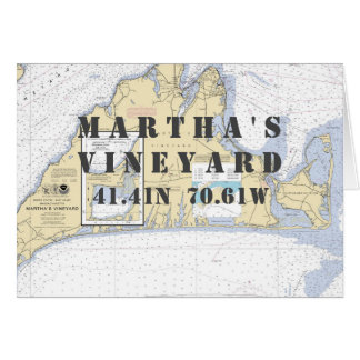 Cartão Carta de navegação náutica do Martha's Vineyard