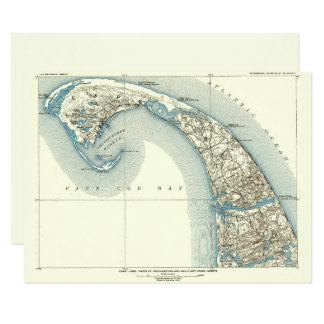 Cartão Carta litoral Provincetown do mapa da avaliação do