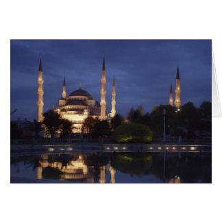Cartão Cartão: a mesquita azul na noite