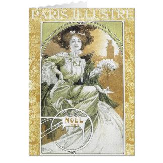 Cartão Cartão: Alphonse Mucha - arte Nouveau