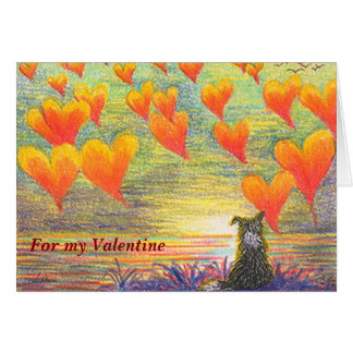Cartão Cartão, border collie & corações do dia dos