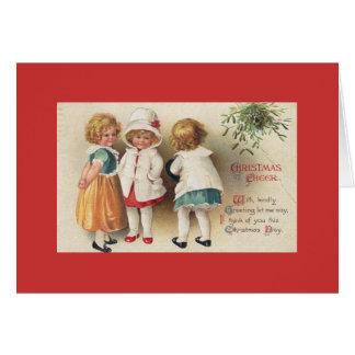 Cartão Cartão/cartão de nota - meninas do vintage no