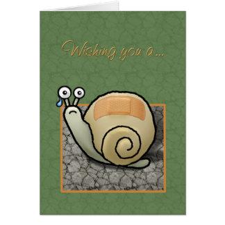 """Cartão """"Cartão cómico da recuperação rápida"""" do caracol"""