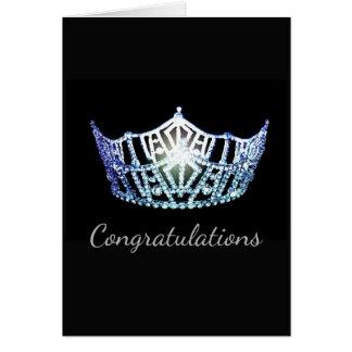 Cartão Cartão-Congrats azul do cumprimento da coroa da