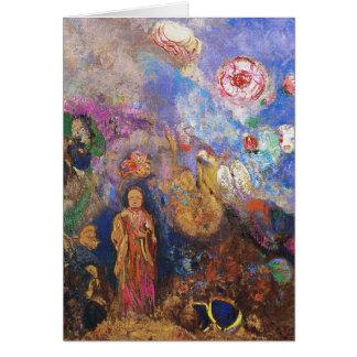 Cartão Cartão/convite: Buddha e a flor