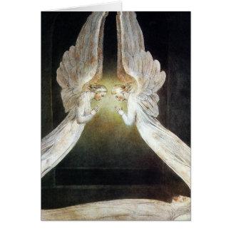 Cartão Cartão/convite de Blake: Cristo guardado por anjos