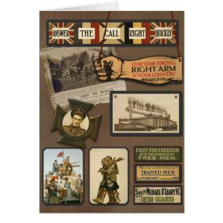 """Cartão """"Cartão das forças aliadas"""" do vintage WWI"""