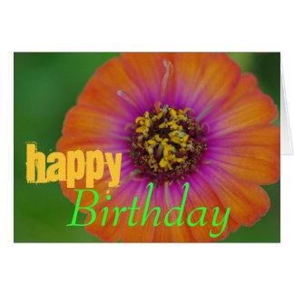 """Cartão """"Cartão de aniversário alaranjado do Zinnia do"""