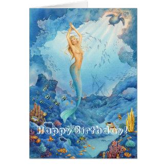 """Cartão """"Cartão de aniversário da sereia coral"""""""