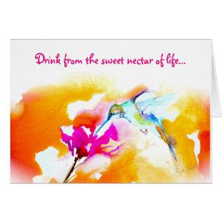 """Cartão """"Cartão de aniversário do colibri do néctar doce"""""""