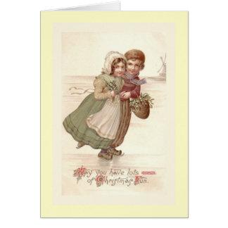 """Cartão """"Cartão de Natal de patinagem das crianças"""