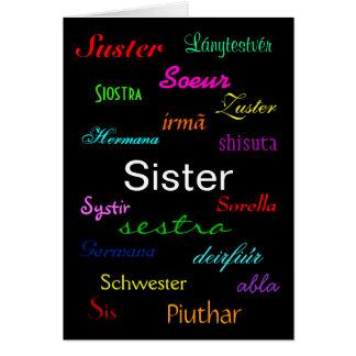 """Cartão """"Cartão do aniversário de uma irmã"""" - customizável"""