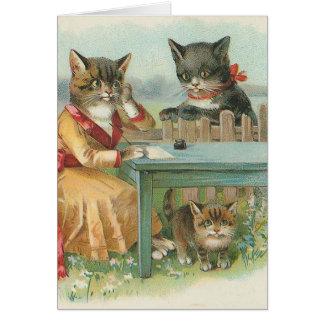 """Cartão """"Cartão do vintage da família de gato"""""""