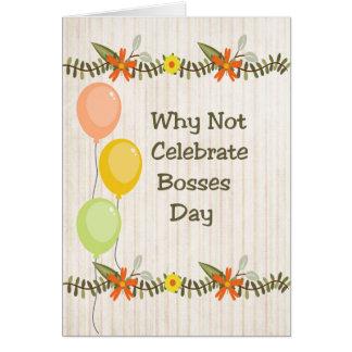 Cartão Cartão, flores & balões do dia dos chefes