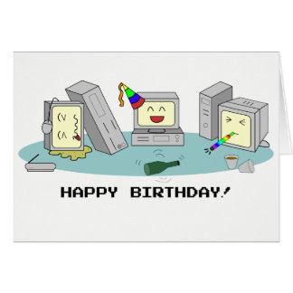 """Cartão """"Cartão Geeky do computador do feliz aniversario"""","""