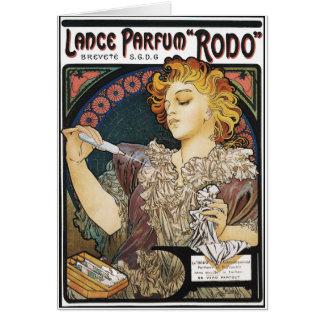 """Cartão Cartão: Lança Parfum """"Rodo """" de Alphonse Mucha-"""