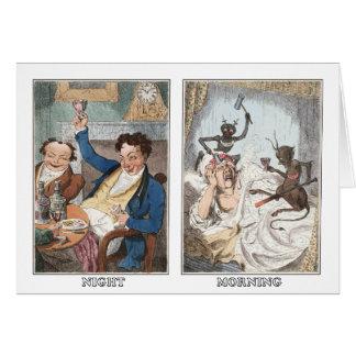 Cartão Cartão: Noite - manhã - caricatura antiga