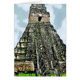 Cartão Cartão: Templo maia em Tikal, Guatemala