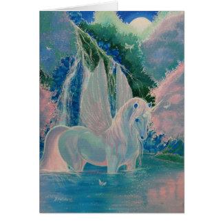 """Cartão """"Cartão voado do unicórnio do mundo iridescente"""""""