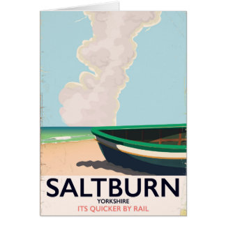 Cartão Cartaz das viagens vintage de Saltburn - de