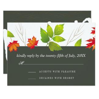 Cartão Carvalho de queda do bordo das folhas que Wedding