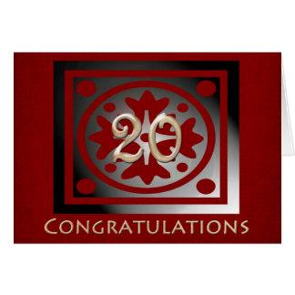 Cartão Carvalho vermelho elegante do 20o aniversário do