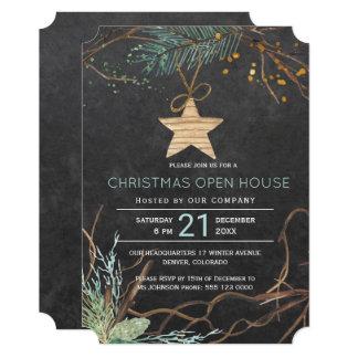 Cartão Casa aberta do Natal moderno dos ramos da floresta