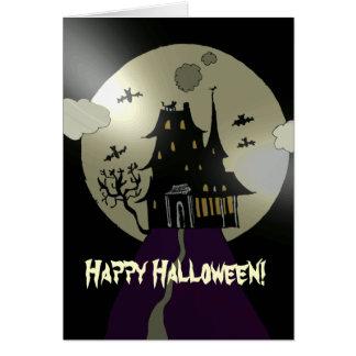 Cartão Casa assombrada o Dia das Bruxas feliz