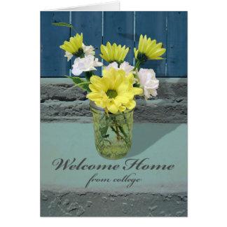 Cartão Casa bem-vinda da faculdade, flores no vaso do