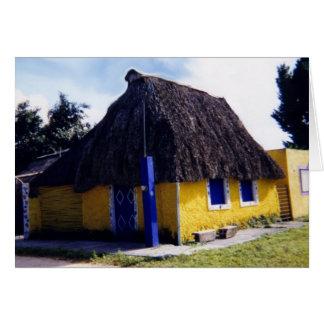 Cartão Casa bonito do telhado Thatched de Cozumel