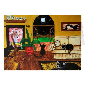 Cartão Casa da Lua cheia dos gatos