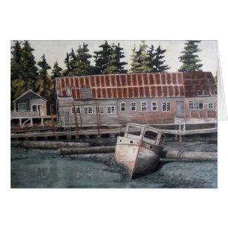 Cartão Casa de barco & barco de pesca velhos
