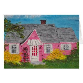 Cartão Casa de campo cor-de-rosa