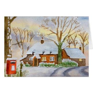 Cartão casa de campo do inverno