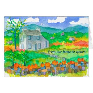 Cartão Casa de campo do outono de nossa casa a seu
