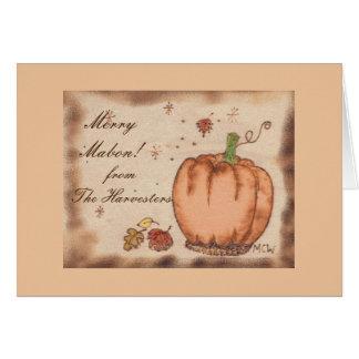 Cartão Casa de colheita Prim de Mabon da abóbora do