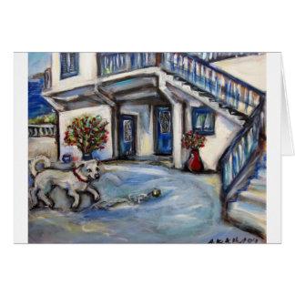 Cartão Casa de ilha grega de Santorini com o cão feliz