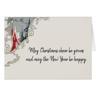 Cartão Casa do art deco do elogio do Natal do Victorian