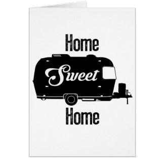 Cartão Casa doce Home - reboque do vintage do campista do