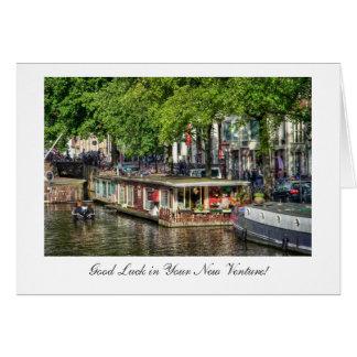 Cartão Casa flutuante do canal, boa sorte no risco novo