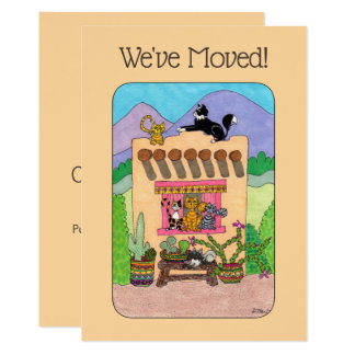 Cartão Casa & gatos alaranjados de Adobe que movem o