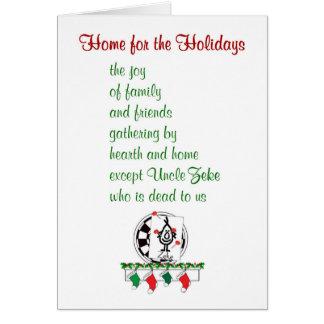 Cartão Casa para os feriados - um poema engraçado do