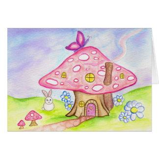Cartão Casa pequena do cogumelo