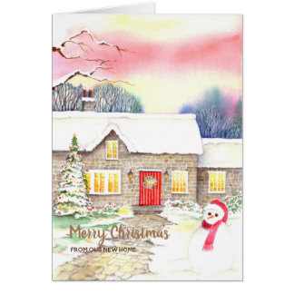 Cartão Casa que nova do Natal nevado da casa de campo nós