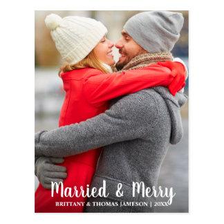 Cartão casado & alegre da foto do Newlywed