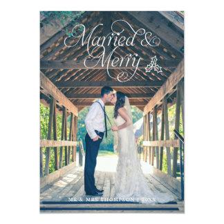 Cartão casado & alegre do feriado da foto do