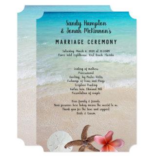 Cartão Casado pelo programa da cerimónia da praia do