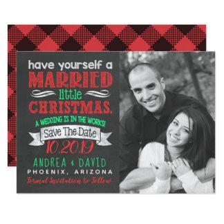 Cartão Casado poucas economias da foto do Natal a data