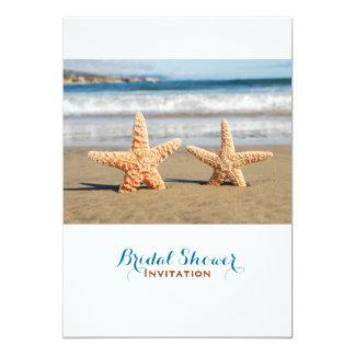 Cartão Casal da estrela do mar no chá de panela da praia