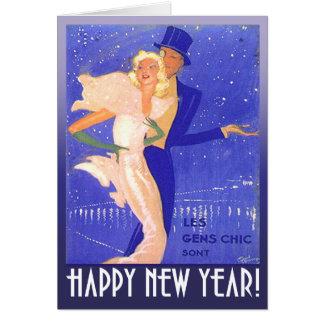 Cartão Casal do art deco do vintage do feliz ano novo